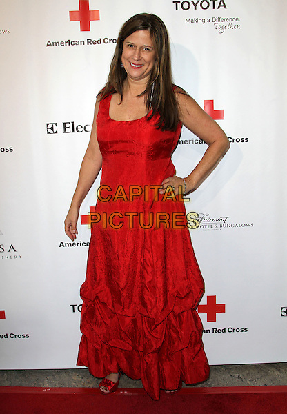 MARCIA CALDIROLA .At The American Red Cross, Santa Monica Chapter's Annual Red Tie Affair held at The Fairmont Miramar Hotel & Bungalows in Santa Monica, California, USA, April 9th 2011..full length dress long maxi hand on hip red strapless ruched .CAP/ADM/KB.©Kevan Brooks/AdMedia/Capital Pictures.
