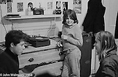 Kids chatting in one of the bedrooms, Summerhill school, Leiston, Suffolk, UK. 1968.