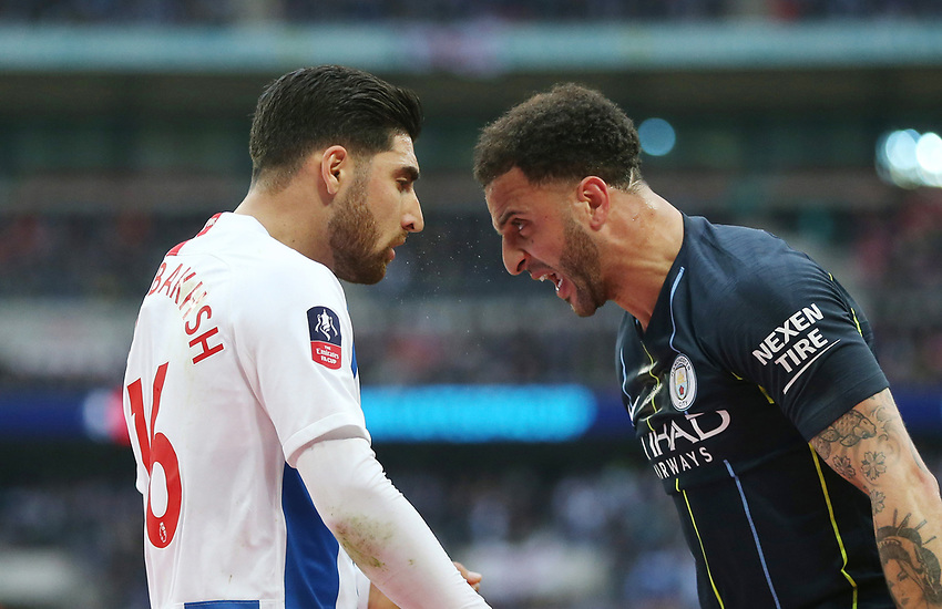 Manchester City's Kyle Walker appears to head butt Brighton & Hove Albion's Alireza Jahanbakhsh<br /> <br /> Photographer Rob Newell/CameraSport<br /> <br /> Emirates FA Cup Semi-Final - Manchester City v Brighton & Hove Allbion - Saturday 6th April 2019 - Wembley Stadium - London<br />  <br /> World Copyright © 2019 CameraSport. All rights reserved. 43 Linden Ave. Countesthorpe. Leicester. England. LE8 5PG - Tel: +44 (0) 116 277 4147 - admin@camerasport.com - www.camerasport.com