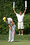 7 September 2008:     Camilo Villegas putts in the fourth and final round of play at the BMW Golf Championship at Bellerive Country Club in Town & Country, Missouri, a suburb of St. Louis, Missouri on Sunday September 7, 2008. The BMW Championship is the third event of the PGA's  Fed Ex Cup Tour.