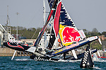 Competitors in action during Day 4 of the Act 3 Extreme Sailing Series Qingdao 2014 at Qingdao International Sailing Centre race during the  on May 4, 2014 in Qingdao, China. Photo by Xaume Olleros / Power Sport Images