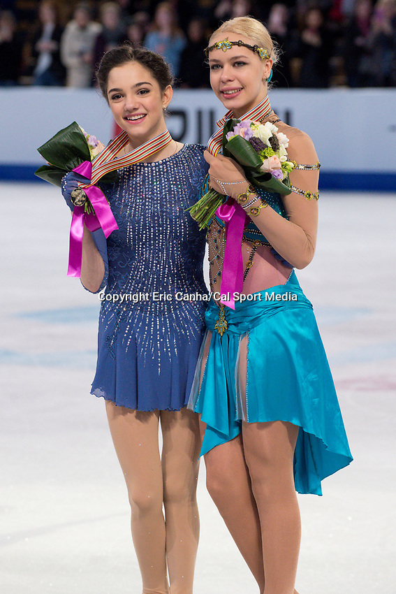 Saturday, April 2, 2016:  International Skating Union gold medalist Evgenia Medvedeva (RUS) (L) and bronze medalist Anna Pogorilaya (RUS) (R) pose with their medals at the ISU World Championship held at TD Garden, in Boston, Massachusetts. Eric Canha/CSM