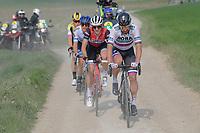 the race leaders rolling over the Plugstreets:<br /> Peter SAGAN (SVN/BORA-Hansgrohe), Edward Theuns (BEL/Trek Segafredo), Matteo TRENTIN (ITA/Mitchelton-Scott) & Mike Teunissen (NED/Jumbo-Visma)<br /> <br /> 81st Gent-Wevelgem 'in Flanders Fields' 2019<br /> One day race (1.UWT) from Deinze to Wevelgem (BEL/251km)<br /> <br /> ©kramon