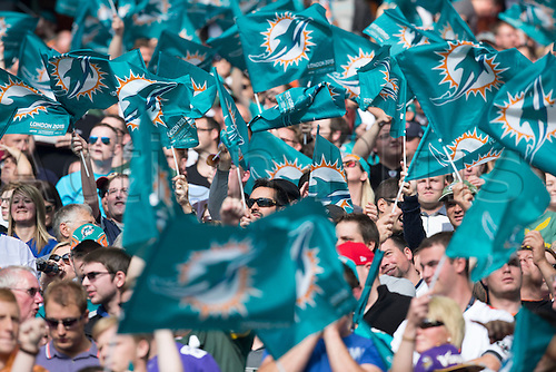 04.10.2015. Wembley Stadium, London, England. NFL International Series. Miami Dolphins versus New York Jets. A sea of Miami Dolphin flags in the stands.