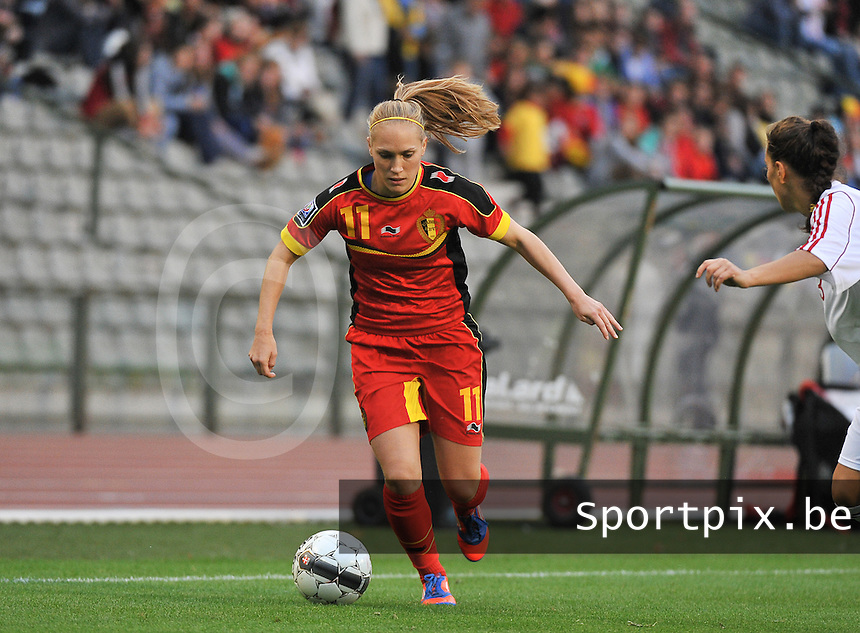 20130921 - BRUSSELS , BELGIUM : Belgian Janice Cayman pictured during the female soccer match between Belgium and Albania , on the first matchday in group 5 of the UEFA qualifying round to the FIFA Women World Cup in Canada 2015 at the Koning Boudewijn Stadion , Brussels . Saturday 21th September 2013. PHOTO DAVID CATRY