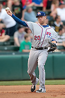 Mike Olt (20) of the Round Rock Express throws to first base during the Pacific Coast League game against the Oklahoma City RedHawks at Chickashaw Bricktown Ballpark on June 14, 2013 in Oklahoma City ,Oklahoma.  (William Purnell/Four Seam Images)