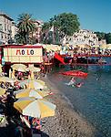Summer scene on the beach in Liguria, Italy
