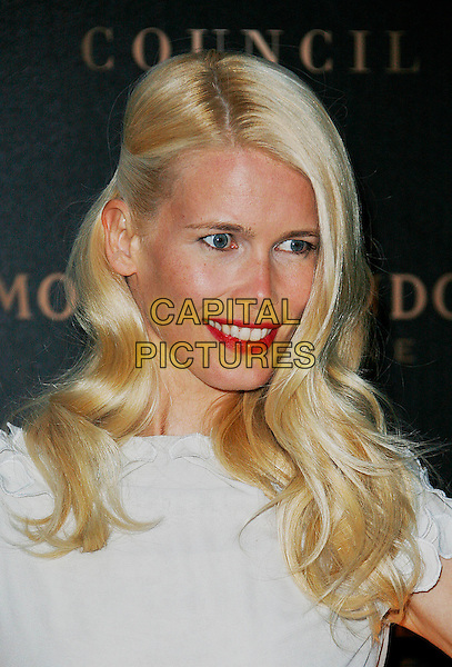 CLAUDIA SCHIFFER.Attending the Moet Mirage Party to celebrate Moet & Chandon Champagne's 10 Year Partnership with the British Fashion Council and London Fashion Week..Opera Holland Park, London, England, .September 16th 2007..portrait headshot red lipstick.CAP/DAR.©Darwin/Capital Pictures