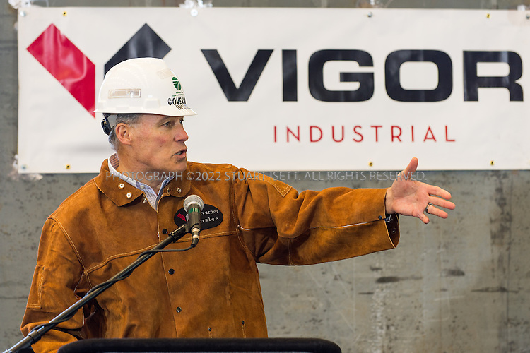 3/8/2013--Seattle, WA, USA<br /> <br /> Washington State Governor Jay Inslee speaks at the keel laying ceremony for the state's newest ferry, the Samish. <br /> <br /> Washington State Ferries and Vigor Industrial commemorated the state&rsquo;s newest 144-car ferry, the Samish, with a keel laying ceremony at Vigor&rsquo;s Seattle shipyard on March 8. Washington State Governor Jay Inslee officially kicked off construction by making the first weld on the keel of the new ferry. The keel laying and first weld are maritime traditions equivalent to placing the cornerstone in a new building.<br /> <br /> Photograph by Stuart Isett/Vigor