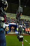 Wigan Athletic 1 Rubin Kazan 1, 24/10/2013. DW Stadium, Europa League Group D. Wigan Athletic embark on their first European campaign having won the FA Cup the previous season. The DW Stadium is temporarily known as The Wigan Athletic Stadium for Europa League fixtures. TV crew waiting for the teams to come out of the tunnel. Photo by Paul Thompson.