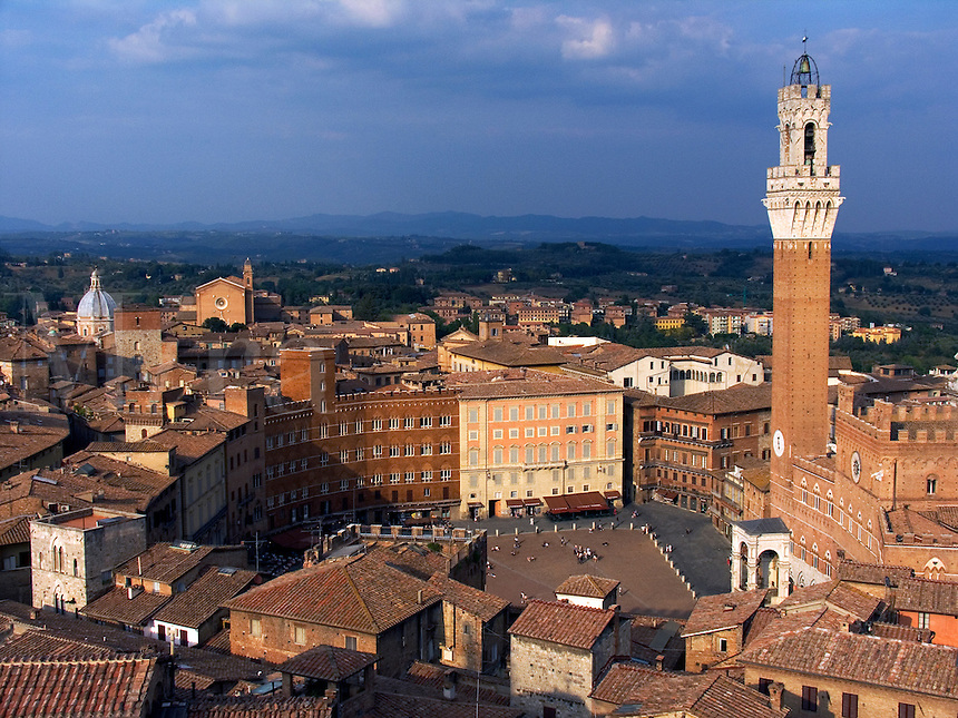 Overhead rooftop view piazza del Campo, Torre del Mangia, and Palazzo Pubblico in Siena, Ital