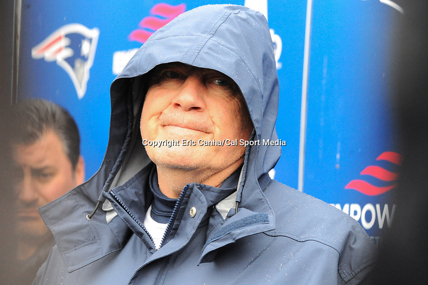 June 6, 2017: New England Patriots head coach Bill Belichick holds a press conference in the rain at the New England Patriots mini camp held on the practice field at Gillette Stadium, in Foxborough, Massachusetts. Eric Canha/CSM