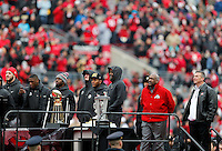 The team watches a video tribute during the Ohio State football National Championship celebration at Ohio Stadium on Saturday, January 24, 2015. (Columbus Dispatch photo by Jonathan Quilter)