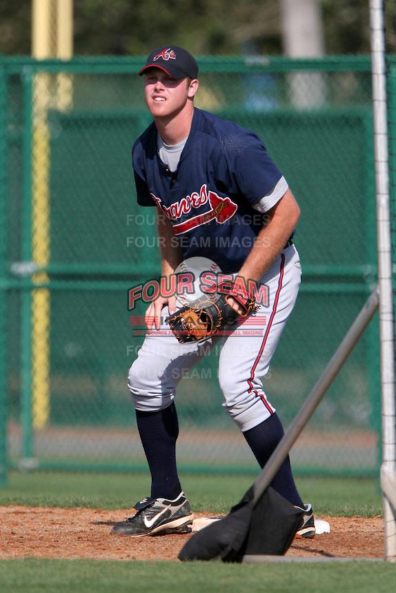 Atlanta Braves minor leaguer Josh Morris during Spring Training at Disney's Wide World of Sports on March 15, 2007 in Orlando, Florida.  (Mike Janes/Four Seam Images)
