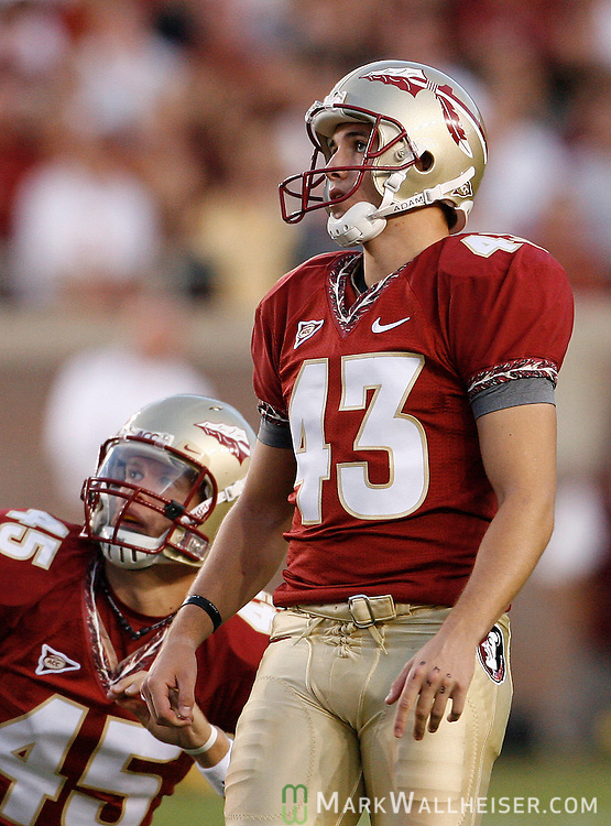FSU kicker Graham Gano (43) and holder Shawn Powell (45) watch a field goal in the second half of the Florida State Seminoles' 30-20 defeat of the Virginia Tech Hokies on Bobby Bowden Field  in Tallahassee, Florida October 25, 2008.  (Mark Wallheiser/TallahasseeStock.com)
