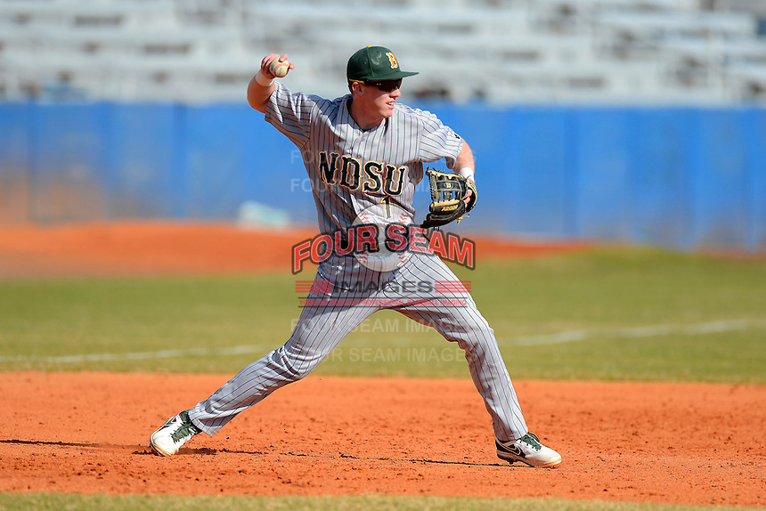 North Dakota State Bison third baseman Paul Funk (1) during practice before a game against the Bowling Green Falcons at Chain of Lakes Stadium on March 9, 2013 in Winter Haven, Florida.  NDSU defeated Bowling Green 8-5.  (Mike Janes/Four Seam Images)