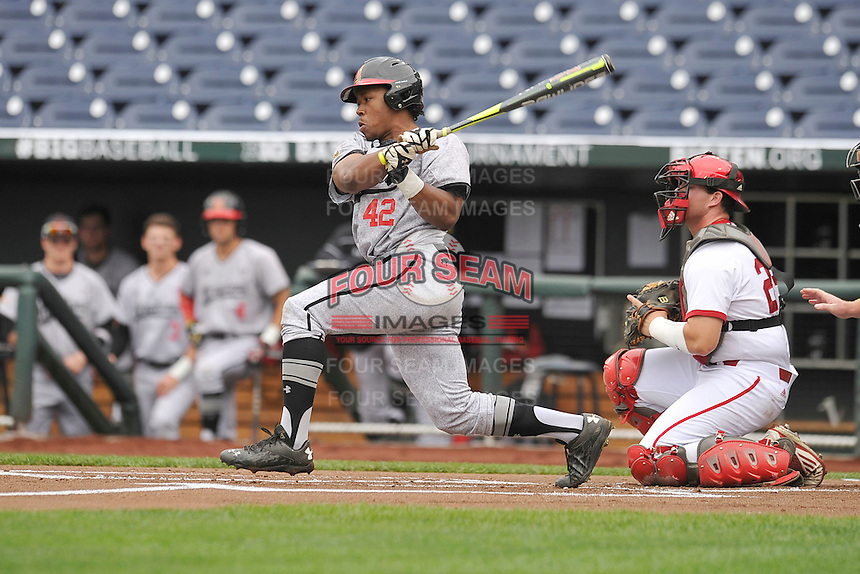 Maryland Terrapins Marty Costes (42) swings during the Big Ten Tournament game against the Indiana Hoosiers at TD Ameritrade Park on May 25, 2016 in Omaha, Nebraska.  Maryland won 5-3.  (Dennis Hubbard/Four Seam Images)