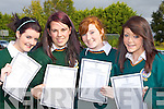 Killorglin Community College students Stefany Griffin Killorglin, Merissa Foley Cromane, Courtney Griffin Caragh Lake and Abbie Miller Killorglin celebrate their Junior Cert results on Wednesday..