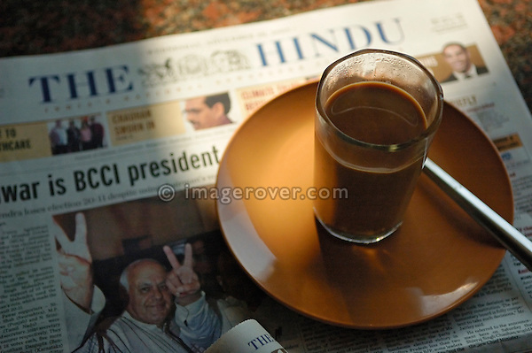 Masala Tee and The Hindu newspaper in Welcome Restaurant, Hampi, Karnataka, India.