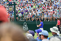 Patrick Reed (USA) watches his tee shot on 1 during Friday's round 2 of the PGA Championship at the Quail Hollow Club in Charlotte, North Carolina. 8/11/2017.<br /> Picture: Golffile | Ken Murray<br /> <br /> <br /> All photo usage must carry mandatory copyright credit (&copy; Golffile | Ken Murray)