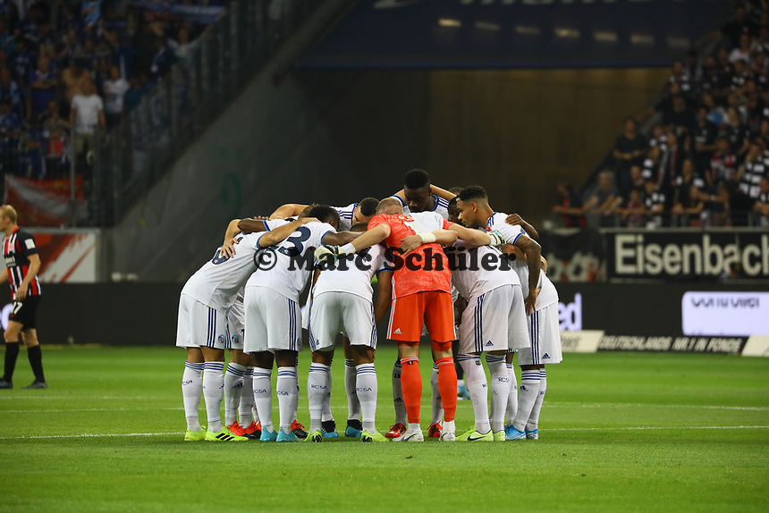 Racing Straßburg schwört sich ein - 29.08.2019: Eintracht Frankfurt vs. Racing Straßburg, UEFA Europa League, Qualifikation, Commerzbank Arena<br /> DISCLAIMER: DFL regulations prohibit any use of photographs as image sequences and/or quasi-video.