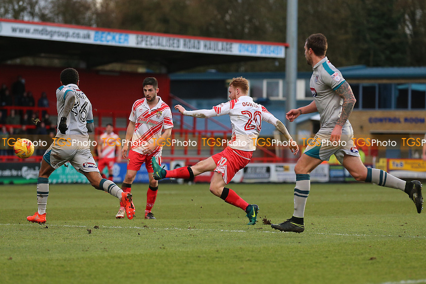 Connor Ogilvie of Stevenage with a shot on goal during Stevenage vs Grimsby Town, Sky Bet EFL League 2 Football at the Lamex Stadium on 28th January 2017