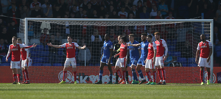 Tight marking in the Fleetwood Town penalty area waiting for a corner kick<br /> <br /> Photographer Stephen White/CameraSport<br /> <br /> The EFL Sky Bet League One - Oldham Athletic v Fleetwood Town - Saturday 8th April 2017 - SportsDirect.com Park - Oldham<br /> <br /> World Copyright &copy; 2017 CameraSport. All rights reserved. 43 Linden Ave. Countesthorpe. Leicester. England. LE8 5PG - Tel: +44 (0) 116 277 4147 - admin@camerasport.com - www.camerasport.com