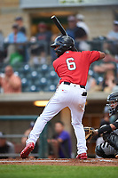 Billings Mustangs Quin Cotton (6) at bat during a Pioneer League game against the Grand Junction Rockies at Dehler Park on August 14, 2019 in Billings, Montana. Grand Junction defeated Billings 8-5. (Zachary Lucy/Four Seam Images)