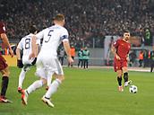 5th December 2017, Stadio Olimpic, Rome, Italy; UEFA Champions league football, AS Roma versus Qarabağ FK; Aleksandar Kolarov lines up a cross into the penalty area