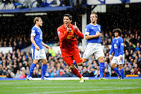 28.10.2012 Liverpool, England. Luis Suarez  of Liverpool celebrates his second goal  during the Premier League game between Everton and Liverpool  from Goodison Park ,Liverpool