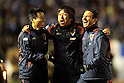 (L-R)  Takeshi Oki,  Riki Takagi,  GKAdauto Alexandre Masson (Sanga), DECEMBER 29, 2011 - Football / Soccer : Kyoto Sanga F.C. head coach Takeshi Oki celebrates with coach Riki Takagi and goalkeeper coach Adauto Alexandre Masson after winning the 91st Emperor's Cup semifinal match between Yokohama F Marinos 2-4 Kyoto Sanga F.C. at National Stadium in Tokyo, Japan. (Photo by Hiroyuki Sato/AFLO)