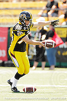 July 10, 2010; Hamilton, ON, CAN; Hamilton Tiger-Cats punter/kicker Justin Palardy (75). CFL football: Calgary Stampeders vs. Hamilton Tiger-Cats at Ivor Wynne Stadium. The Tiger-Cats lost against the Stampeders 23-22. Mandatory Credit: Ron Scheffler. Copyright (c) 2010 Ron Scheffler.