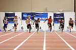 NAPERVILLE, IL - MARCH 11: Jamal Watkins of Birmingham Southern, center, leads the field during the men's 60 meter dash at the Division III Men's and Women's Indoor Track and Field Championship held at the Res/Rec Center on the North Central College campus on March 11, 2017 in Naperville, Illinois. (Photo by Steve Woltmann/NCAA Photos via Getty Images)