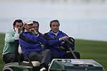 Team Captain Seve Ballesteros with Miguel Angel Jiminez and Gonzalo Fernandez-Castano  watch the action on the final hole during the first round of the Seve Trophy at The Heritage Golf Resort, Killenard,Co.Laois, Ireland 27th September 2007 (Photo by Eoin Clarke/GOLFFILE)