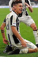 Calcio, semifinale di andata di Tim Cup: Juventus vs Napoli. Torino, Juventus Stadium, 28 febbraio 2017.<br /> Juventus&rsquo; Paulo Dybala celebrates after scoring his second goal on a penalty kick during the Italian Cup semifinal first leg football match between Juventus and Napoli at Turin's Juventus stadium, 28 February 2017.<br /> UPDATE IMAGES PRESS/Manuela Viganti
