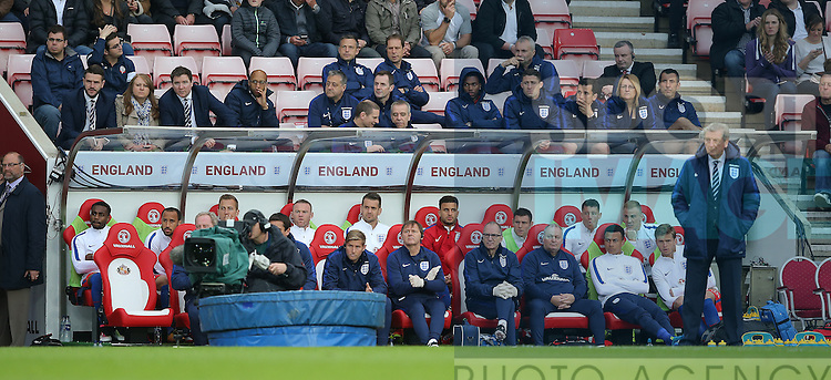 The England bench watch the march during the International Friendly match at the Stadium of Light, Sunderland. Photo credit should read: Simon Bellis/Sportimage