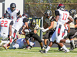 Palos Verdes, CA 09/25/15 - Alex Martinez (Peninsula #10) and Terrell Williams (Lawndale #52) in action during the Lawndale - Palos Verdes Peninsula Varsity football game at Peninsula High School.