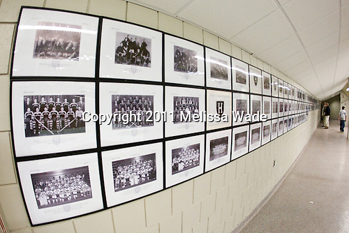 Team photos have been re-displayed on the walls of Bright Hockey Center. - The Harvard University Crimson defeated the visiting Colgate University Raiders 6-2 (2 EN) on Friday, January 28, 2011, at Bright Hockey Center in Cambridge, Massachusetts.