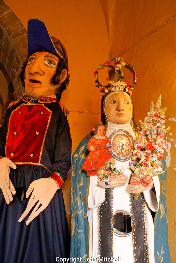 Mojigangas,giant papier mache figures. San Miguel de Allende, Mexico. San Miguel de Allende is a UNESCO World Heritage Site...