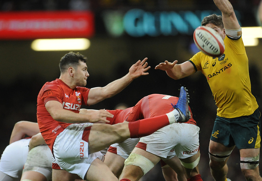Wales' Tomos Williams clears the danger<br /> <br /> Photographer Ian Cook/CameraSport<br /> <br /> Under Armour Series Autumn Internationals - Wales v Australia - Saturday 10th November 2018 - Principality Stadium - Cardiff<br /> <br /> World Copyright © 2018 CameraSport. All rights reserved. 43 Linden Ave. Countesthorpe. Leicester. England. LE8 5PG - Tel: +44 (0) 116 277 4147 - admin@camerasport.com - www.camerasport.com