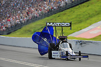 Jun. 19, 2011; Bristol, TN, USA: NHRA top fuel dragster driver Antron Brown during eliminations at the Thunder Valley Nationals at Bristol Dragway. Mandatory Credit: Mark J. Rebilas-