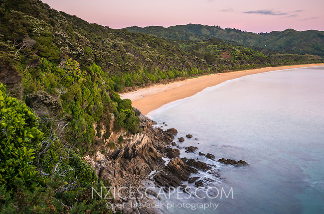 Totaranui beach in pastel colours of twilight before sunrise on Abel Tasman Coast Track, Abel Tasman National Park, Nelson Region, South Island, New Zealand