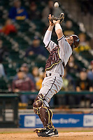 Arizona State catcher Petey Paramore (13) hauls in a foul pop-up versus Houston at the 2007 Houston College Classic at Minute Maid Park in Houston, TX, Sunday, February 11, 2007.  The Sun Devils  defeated the Cougars 11-1.