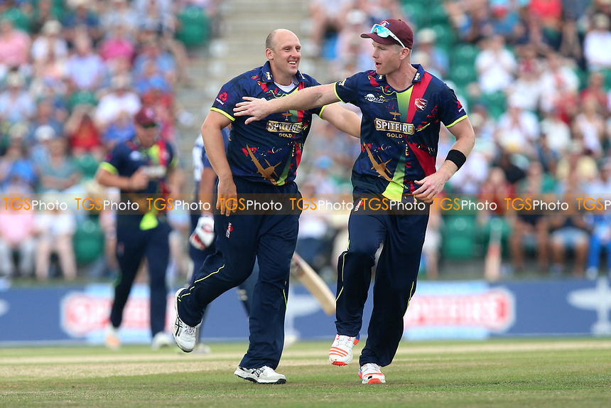 James Tredwell (C) of Kent celebrates taking the wicket of Varun Chopra during Kent Spitfires vs Essex Eagles, NatWest T20 Blast Cricket at The County Ground on 9th July 2017