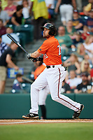 Richmond Flying Squirrels second baseman Dillon Dobson (28) follows through on a swing during a game against the Trenton Thunder on May 11, 2018 at The Diamond in Richmond, Virginia.  Richmond defeated Trenton 6-1.  (Mike Janes/Four Seam Images)