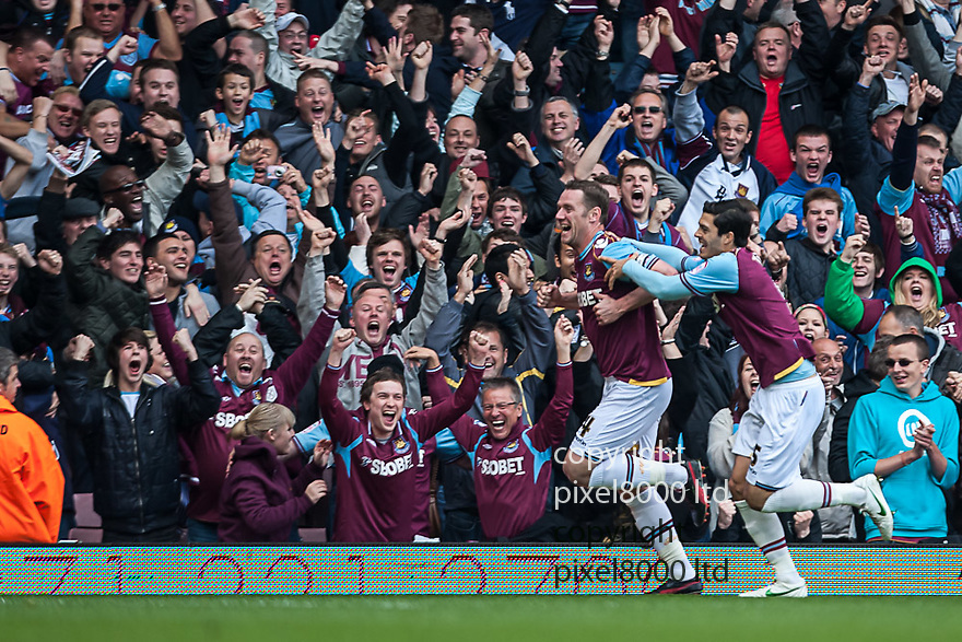 London, UK. West Ham captain Kevin Nolan scores the opening goal during nPower Championship playoff semi final second leg fixture West Ham United versus Cardiff City at Upton Park Boleyn Ground 07 May.  Please Byline David Fearn Pixel 8000 Ltd