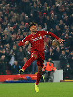 5th November 2019; Anfield, Liverpool, Merseyside, England; UEFA Champions League Football, Liverpool versus Genk; Alex Oxlade-Chamberlain of Liverpool celebrates after scoring to give his team a 2-1 lead after 53 minutes - Editorial Use