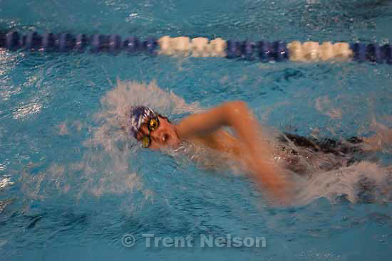 Chandler Olson at practice with the Southwest Aquatic Team. The team, with students from ages 6-18, has been competing for more than four years., Thursday, December 17, 2009 at Taylorsville High School.