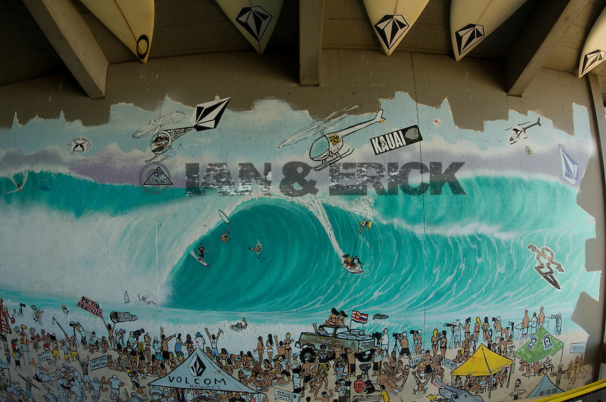 Drawing depicting the Pipeline Masters on the wall of the Volcom House on the North Shore in Hawaii