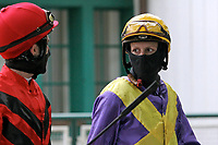 15th May 2020, Muenchen-Riem racecourse, Munich, Germany. Flat racing;  Jockey Eva-Maria Geisler with protective mask